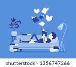 male book reader. boy reads for ... | Shutterstock .eps vector #1356747266