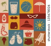 set of beach icons. retro style. | Shutterstock .eps vector #135678026