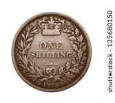 Small photo of British 1876 Queen Victoria One Shilling coin