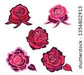 set of vector black rose flower ... | Shutterstock .eps vector #1356802913