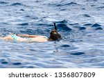 young girl in a swimming mask... | Shutterstock . vector #1356807809