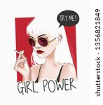 girl power slogan with girl in... | Shutterstock .eps vector #1356821849