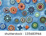 Blue Background With Mosaic...