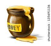 Honey Pot Isolated On White...