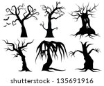 Creepy Cartoon trees. EPS 8 vector, grouped for easy editing. No open shapes or paths.