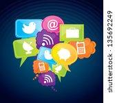 app store icons over blue... | Shutterstock .eps vector #135692249