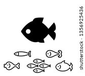 fish icon or logo collection... | Shutterstock . vector #1356925436