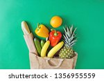 fruits  bread and vegetables in ... | Shutterstock . vector #1356955559