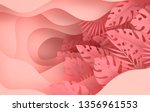 tropical paper palm leaves... | Shutterstock . vector #1356961553