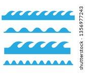 wave icons set. waves outline... | Shutterstock . vector #1356977243
