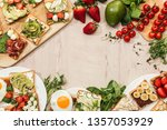 top view of toasts with... | Shutterstock . vector #1357053929
