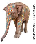 A Painted Elephant At The...