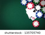 blackjack playing cards and...   Shutterstock . vector #135705740