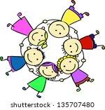 happy kids holding hand | Shutterstock .eps vector #135707480