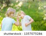 cute little children playing... | Shutterstock . vector #1357075286