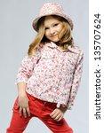 stylish little girl in the... | Shutterstock . vector #135707624