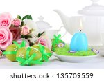 place setting for easter close...   Shutterstock . vector #135709559
