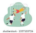 soccer play. goalkeeper trying... | Shutterstock .eps vector #1357103726