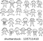 happy kid cartoon doodle... | Shutterstock .eps vector #135711410