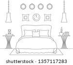 vector linear bedroom interior. ... | Shutterstock .eps vector #1357117283