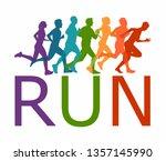 running marathon  people run  ... | Shutterstock .eps vector #1357145990