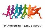running marathon  people run  ... | Shutterstock .eps vector #1357145993