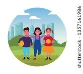 kids friends cartoon | Shutterstock .eps vector #1357161986