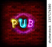 text pub in neon text with a... | Shutterstock . vector #1357176380