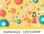 cute girl and cat with... | Shutterstock .eps vector #1357210409