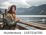 beautiful girl with a retro... | Shutterstock . vector #1357216700