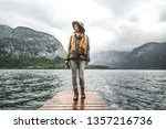 young tourists with a retro... | Shutterstock . vector #1357216736