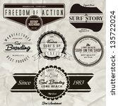 vector retro surf label set. | Shutterstock .eps vector #135722024