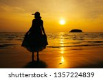 relax woman standing  on the... | Shutterstock . vector #1357224839