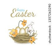 happy easter vector greeting... | Shutterstock .eps vector #1357263290