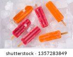 orange and strawberry popsicles ...   Shutterstock . vector #1357283849
