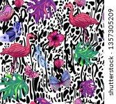 hand drawn flamingo ... | Shutterstock . vector #1357305209