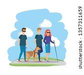 blind woman with helper and... | Shutterstock .eps vector #1357311659