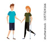 woman in crutch and man with... | Shutterstock .eps vector #1357324166