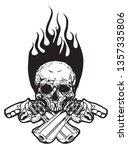 tattoo art skull and gun hand... | Shutterstock .eps vector #1357335806