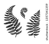 fern silhouettes isolated on a... | Shutterstock .eps vector #1357341359