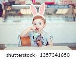 cute funny caucasian blonde... | Shutterstock . vector #1357341650