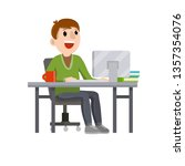 man sitting at table with... | Shutterstock .eps vector #1357354076