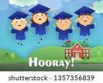 hooray graduation poster design.... | Shutterstock .eps vector #1357356839