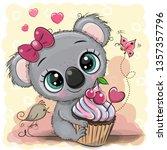 greeting card cute cartoon... | Shutterstock .eps vector #1357357796