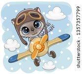 Stock vector cute cartoon kitten is flying on a plane 1357357799