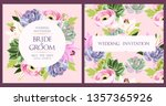 vintage wedding card with... | Shutterstock .eps vector #1357365926