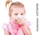 sick little girl with... | Shutterstock . vector #135736958