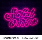 brick background. sold out neon ... | Shutterstock .eps vector #1357369859
