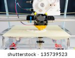 Small photo of Electronic three dimensional plastic printer during work in school laboratory, 3D printer, 3D printing