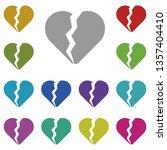 broken heart multi color icon....